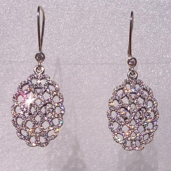 9fcb823f6 Pandora SHIMMERING LACE Earrings CZ SILVER. M_5bca3e523c984443dab3d70e